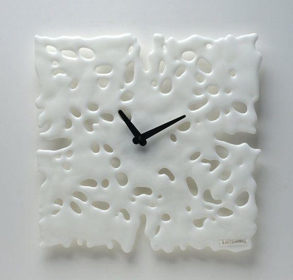 Modern white fusing glass clock S-Interiors Bianco Angelo