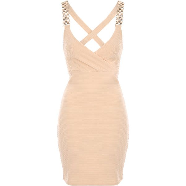 Nude Deep V Wrap Dress ❤ liked on Polyvore featuring dresses, beige wrap dress, low v neck dress, deep v neckline dress, nude dress and deep v-neck dress
