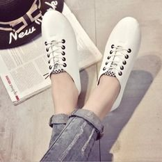 Spring and Autumn Leather Flat Breathable Lace-up joker Sneakers Casual Shoes Black