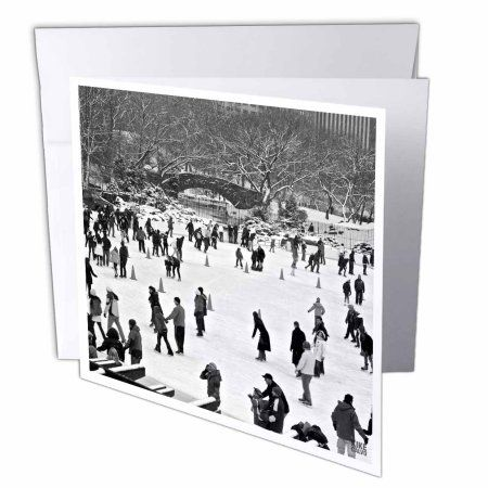3dRose Snow blizzard in Central Park Manhattan New York City Ice Skate Ring, Greeting Cards, 6 x 6 inches, set of 6