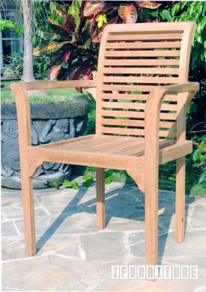 BALI Solid Teak Stack Arm Chair Model 076 , Outdoor, NZ's Largest Furniture…