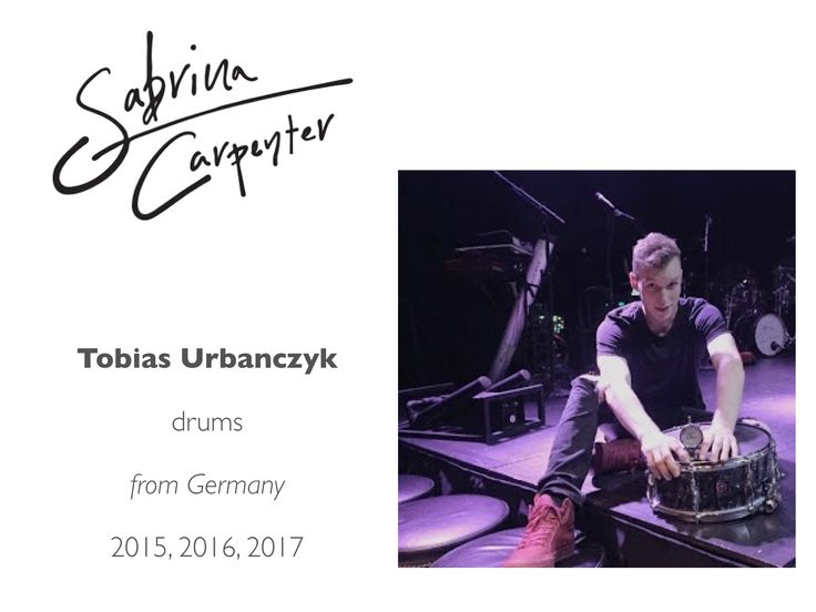 Meet the Sabrina Carpenter Band: Tobias Urbanczyk (acoustic drums and electronics; graduate of the Musicians Institute, Hollywood, CA)