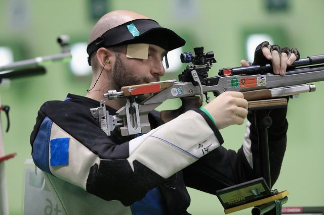 Italy's Niccolo Campriani credited a lucky late shot for his gold in the Olympic men's 10-metre air rifle.