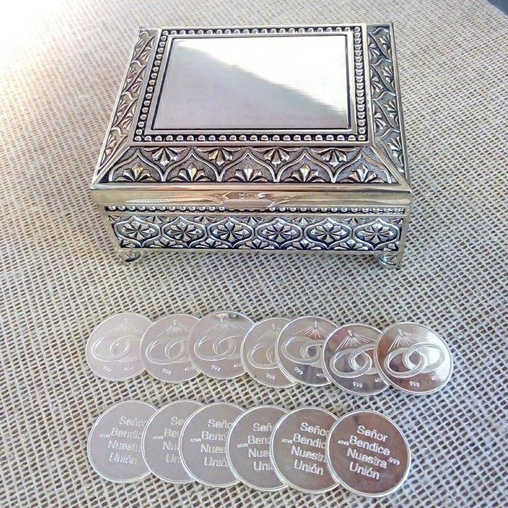 Arras de boda Alianza con estuche Dubai, arras de plata .999 el cofre es baño de plata, #bonitas #elegantes #únicas para #ceremoniaboda #religioso puedes #comprar en #ondinecollection en el #df
