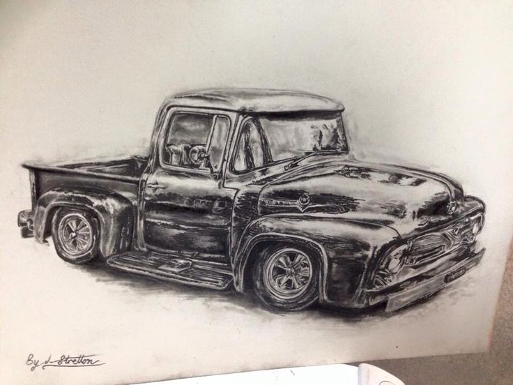 Ford ute - graphite and ink