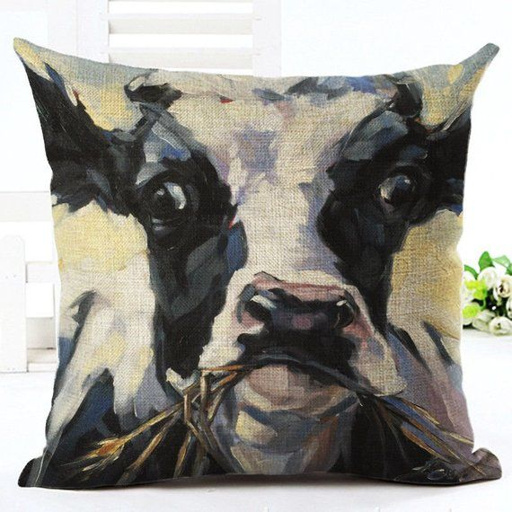 Farmhouse Holstein Cow Black And White Cow Pillow Cover Linen Pillow Cases Throw Pillow Styling Linen Pillow Covers
