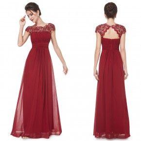 Bordó elegantní společenské šaty
