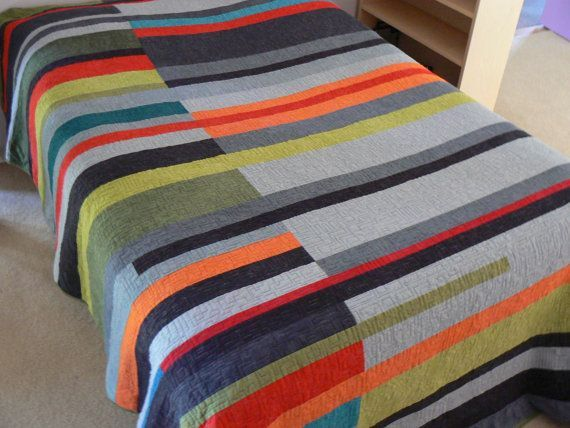 Mid-Century Modern Queen Quilt (Take 2) - Made to Order. via Etsy.