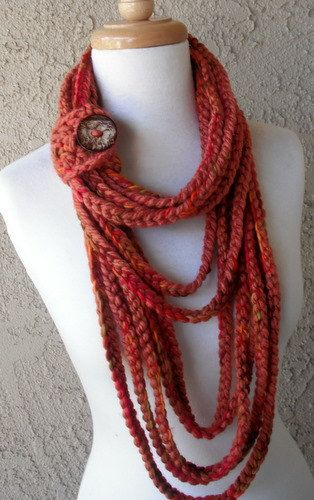 SALE-Autumn Harvest Circular Crocheted Scarf, Handmade, Multicolored with Button Tube. $32.00, via Etsy.