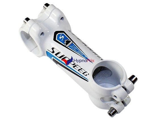 Potence vélo en aluminium 31.8mm  (blanc + bleu)