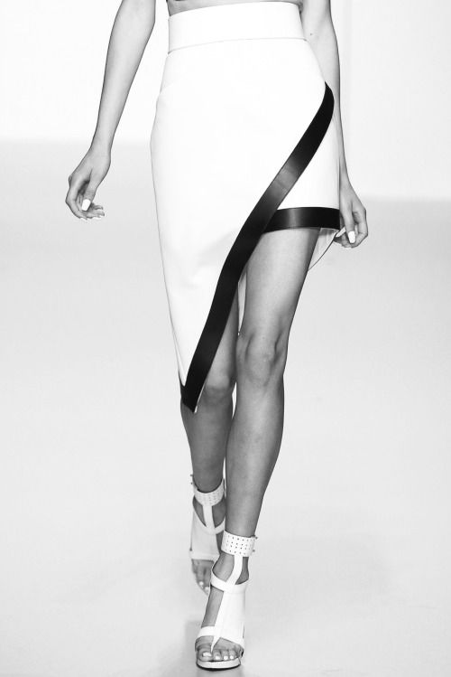 Asymmetric skirt with contrasting trim; geometric fashion details // David Koma Spring 2014