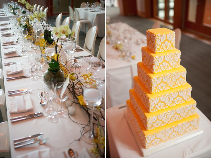 Art Gallery of Ontario wedding table setting and cake. By @bitsandblooms