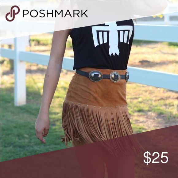 License to Boot Tan Fringe Stud Boho Skirt Purchased on the License to Boot Website. $32. Size: Small/Medium (Sold out). Zipper on side of skirt. Tan Suede with Fringe detail all around skirt.  Stud detail on front of skirt. Never worn - new without tags. License to Boot Skirts