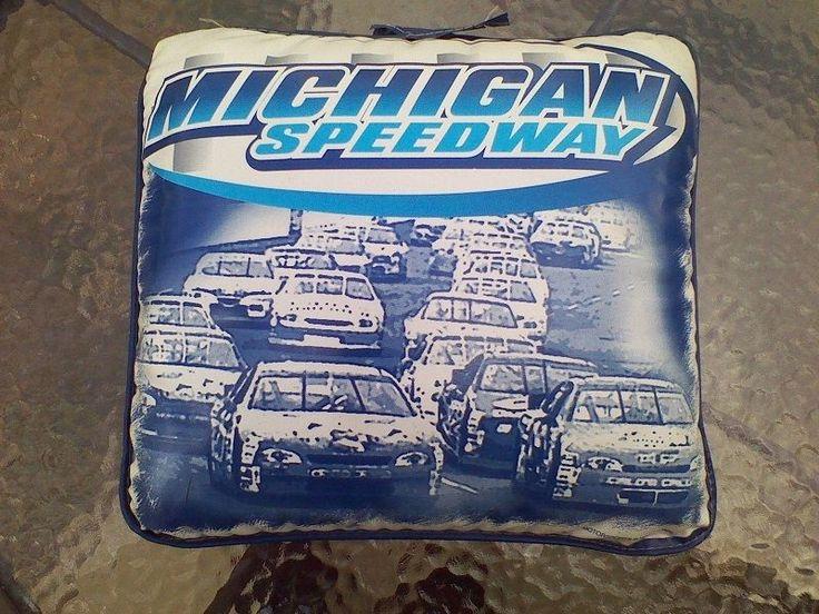 Michigan International Speedway Stadium Seat Cushion Pillow Plastic Blue White #Unbranded