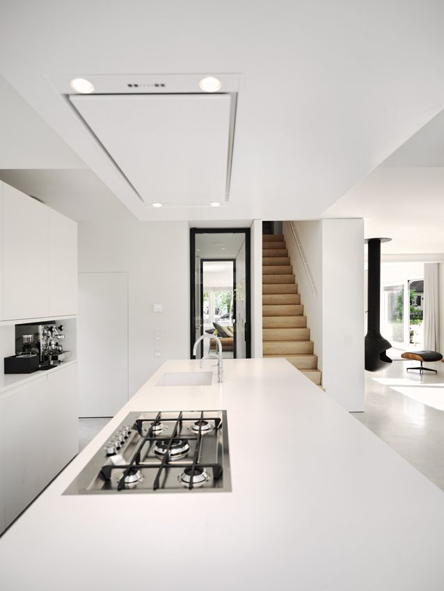 Clean white kitchen, modern