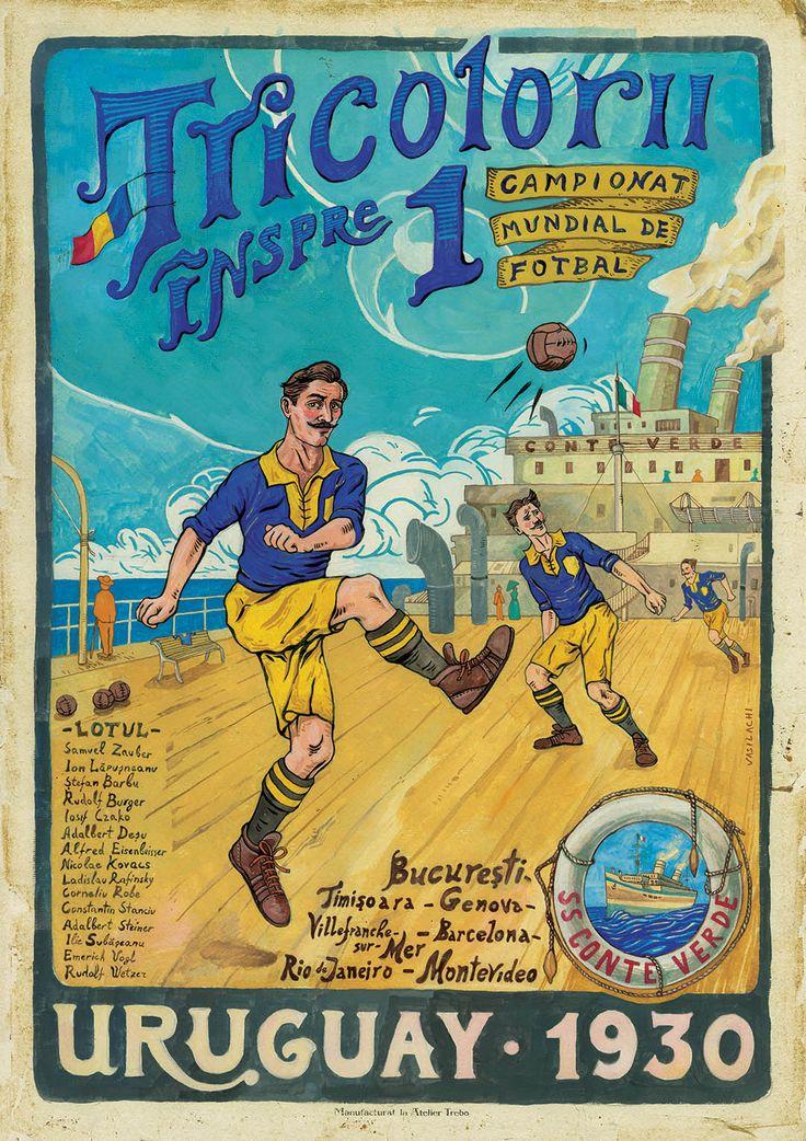 Romanian National Soccer Team, 1930 FIFA World Cup, Tricolorii, Nationala de fotbal, SS Conte Verde, Romanian Vintage Poster.