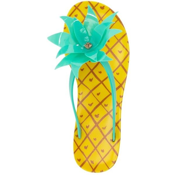 kate spade new york 'flynn' pineapple flip flop ($68) ❤ liked on Polyvore featuring shoes, sandals, flip flops, fleece-lined shoes, patterned shoes, rubber sandals, kate spade flip flops and kate spade shoes