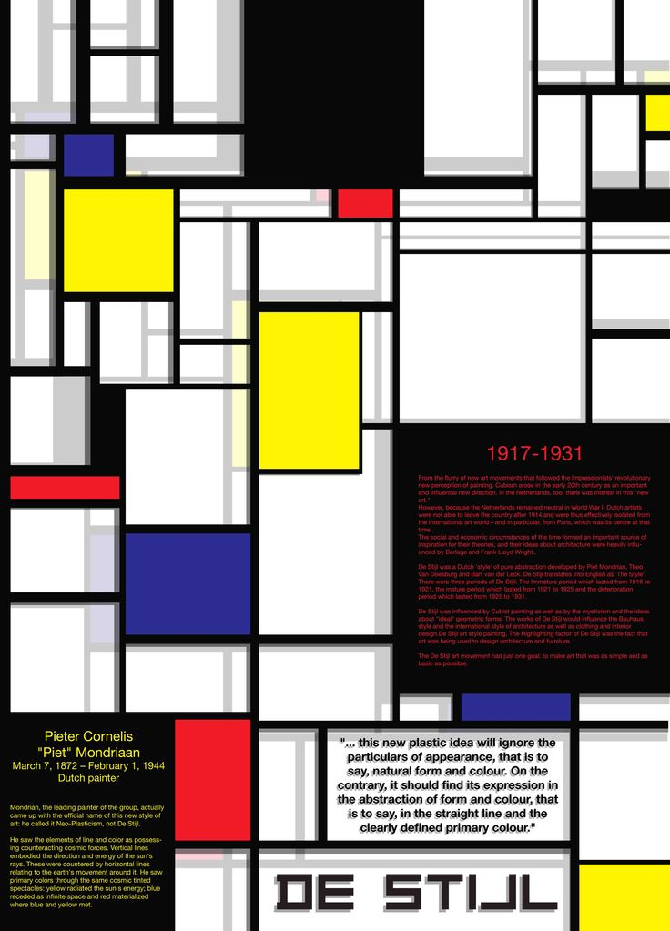 De Stijl. As know, Proponents of De Stijl advocated pure abstraction and universality by a reduction to the essentials of form and colour; they simplified visual compositions to the vertical and horizontal directions, and used only primary colors along with black and white. This poster have some information about De Stijl itself and short of Piet Mondrian's biography. Media: Adobe Illustrator.