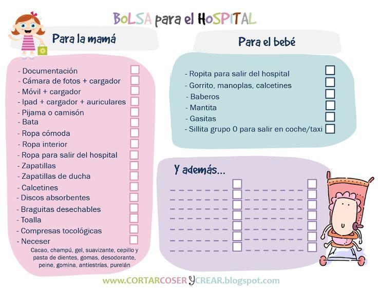 Imprimible: Bolsa para el hospital (¡se acerca el parto!)