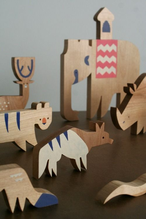 Striped Hyena; one character in a massive wooden playset themed around an Indian Safari, featuring twenty different animals. By illustrator Alexander Vidal.