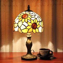 Тиффани подсолнечника ресторан спальня настольная лампа исследование гостиная для настольная лампа пастырское тиффани СВЕТОДИОДНЫЕ настольные лампы