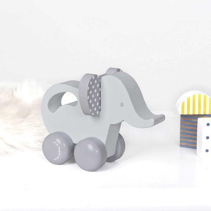 Wooden Elephant Push-Along Toy | JoJo Maman Bebe