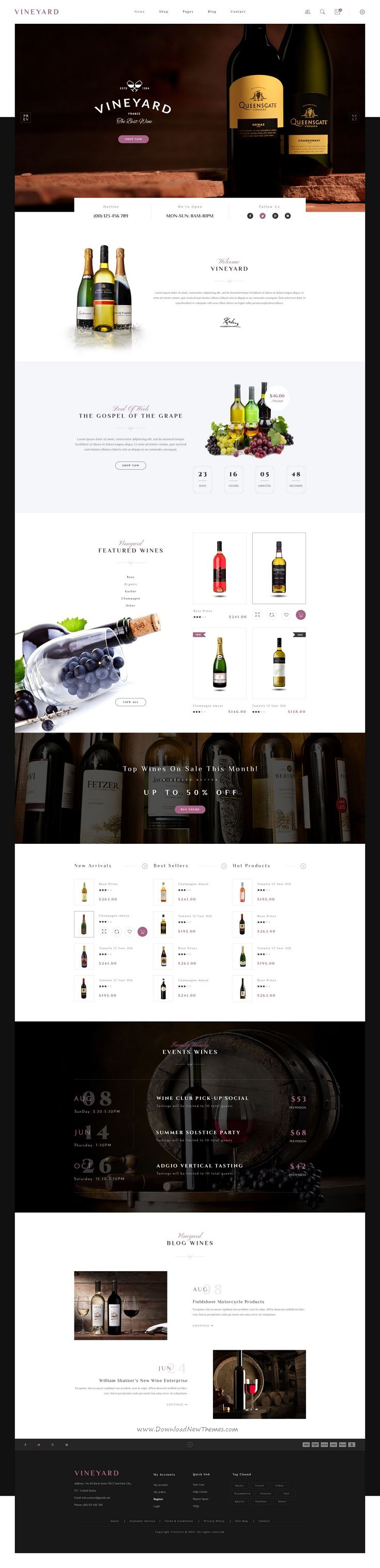 Vineyard is a super clean and modern Responsive WooCommerce WordPress Theme created specifically for wine lovers, wineries, #wineshop and #restaurant and style bloggers around the globe. #webdesign