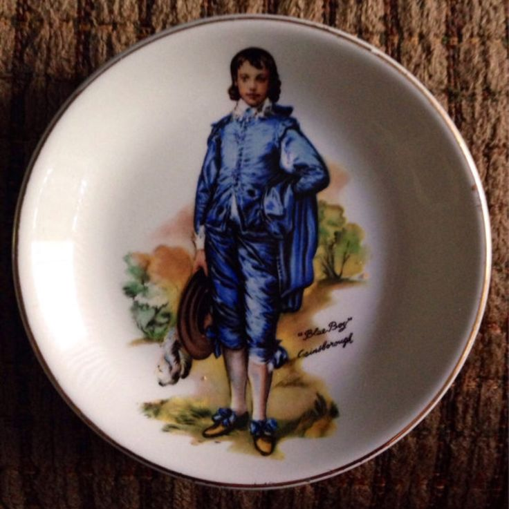 "Vintage ""Blue Boy"" Gainsborough Collector Small Decorative Plate With Gold Trimming – by Wood & Sons, Burslem, England"