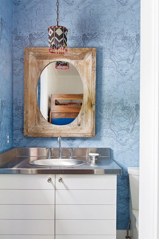 Pics On The children us bathroom was covered in a world map wallpaper by Christian Lacroix white subway