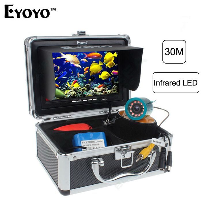 """30m Fish Finder Underwater Video Camera 7"""" Color Monitor HD CAM 12pc Infrared light"""