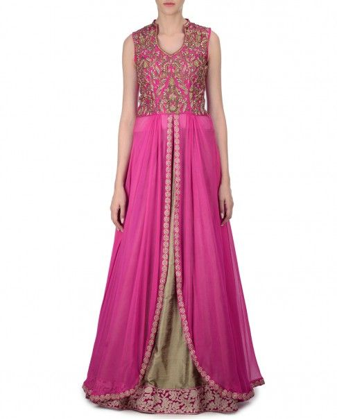 Dull gold Lehenga with golden thread embroidered pink hemline. This set comes with a matching pink long sleeveless kurta with curved hemline featuring zari embroidered and stones embellished bodice. Band collar. Cut out back. Wash Care: Dry clean onlyClosure: Zip at side