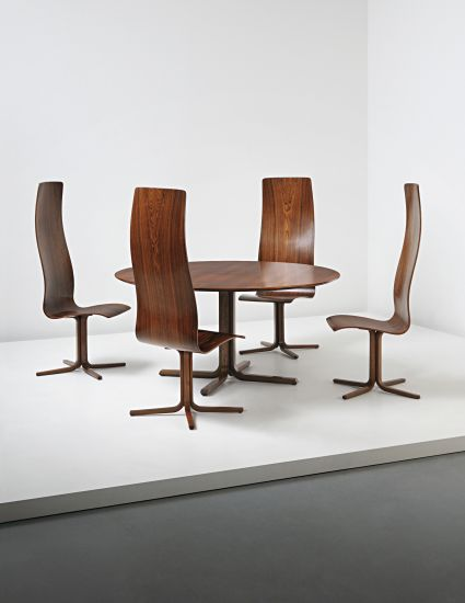 PHILLIPS : UK050214, Arne Jacobsen, Important and rare set of four high-backed 'Oxford' dining chairs and dining table, designed for the din...