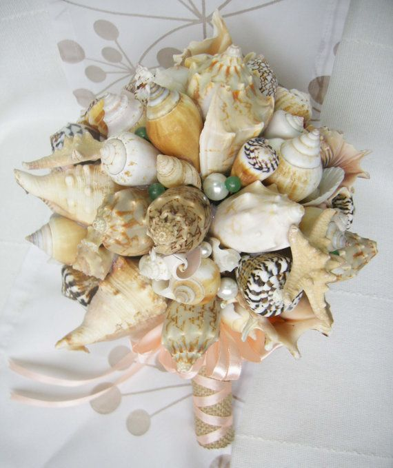 Sea Shell Bouquet With Semiprecious Stones Green Aventurin And Starfish Bridal Beach Wedding Nautical Seaside