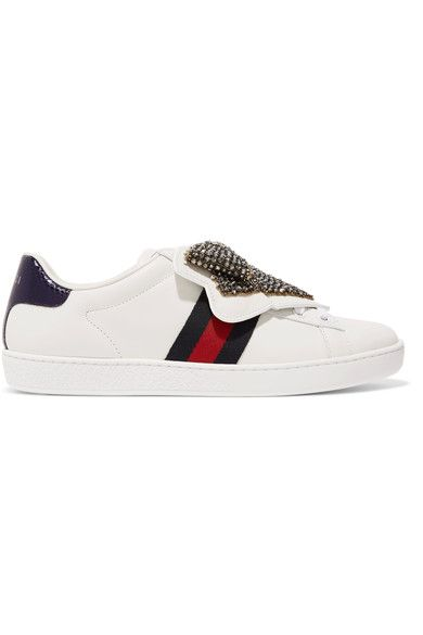 Gucci - Ace Crystal-embellished Watersnake-trimmed Leather Sneakers - White