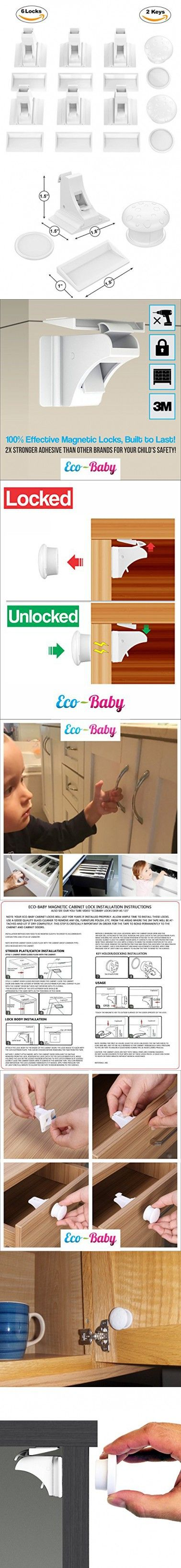 Baby & Child Proof Cabinet & Drawers Magnetic Safety Locks Set of 6 with 2 Keys By Eco-Baby - Heavy Duty Locking System with 3M Adhesive Tape Easy To Install Without Damaging Your Furniture