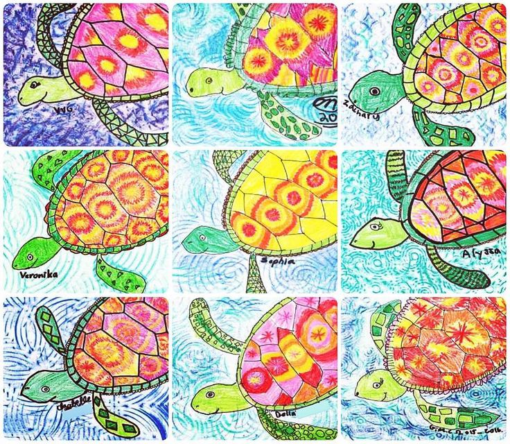 We loooove sea turtles in the art room! Texture plates for the background