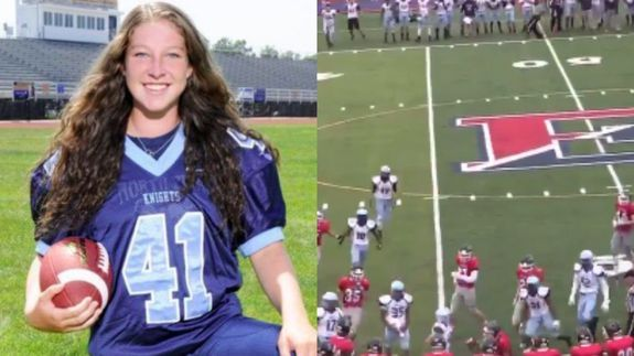 Teen girl football player absolutely levels opponent during game