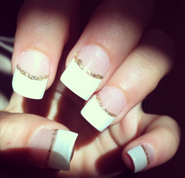 White Tips Gold Line Acrylic Nails