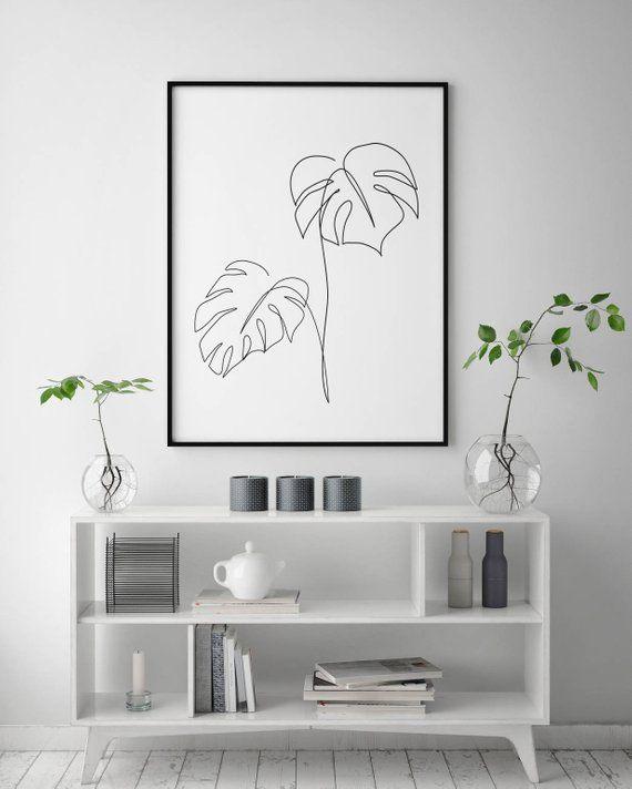 Monstera line art, Tropic leaves print, Abstract botanic plants wall decor, Minimalist art, Modern room decor, wabi sabi printable wall art – Shay