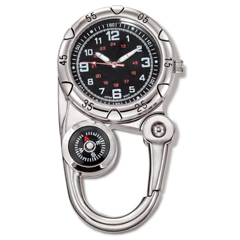 Unique design hooks on to any backpack, belt-loop, etc. for the man in action! Compass function and watch in one. 8 cm diam. Silvertone. #Avon #watch #montre #mousqueton #men http://bit.ly/1GB6X17