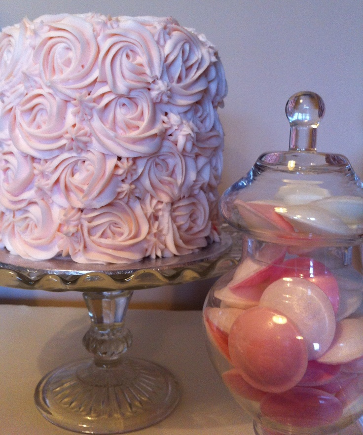 Double layered vanilla cupcake with a rose frosting for our shabby chic dessert table