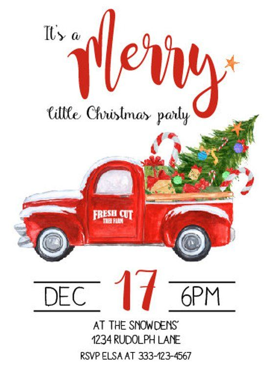 Red Truck Invitation Christmas Party Invitation Holiday Christmas Party Invitations Christmas Red Truck Holiday Party Invitations