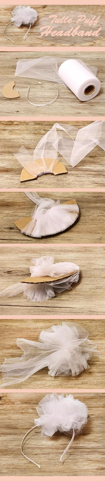 How to make a DIY tulle puff headband - an easy to follow tutorial, perfect to make a flower girl or first communion headband, or even just a fairy headband for playing dress up!