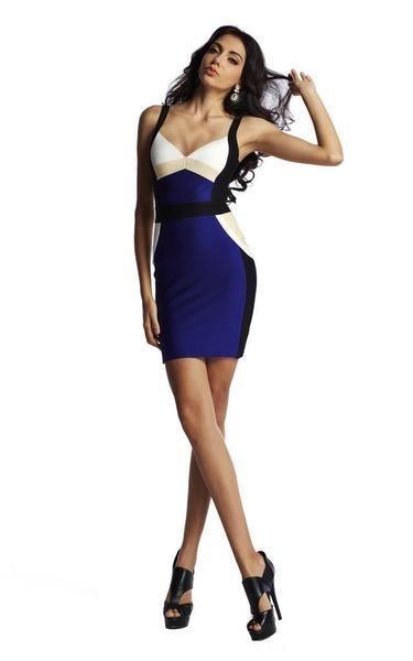 Color Block Blue Bodycon Bandage Dress 1