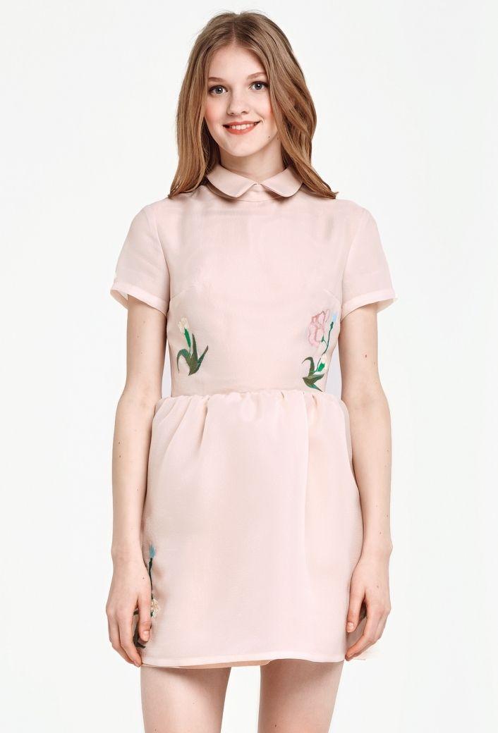 Бежевое платье с вышивкой выше колена купить в Украине, цена в каталоге интернет-магазина брендовой одежды Musthave