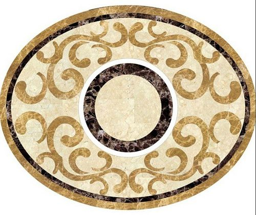Good afternoon, designers. This oval water jet medallion is made with light emperador, dark emperador, sunny beige marble. May i know what's you idea of it?