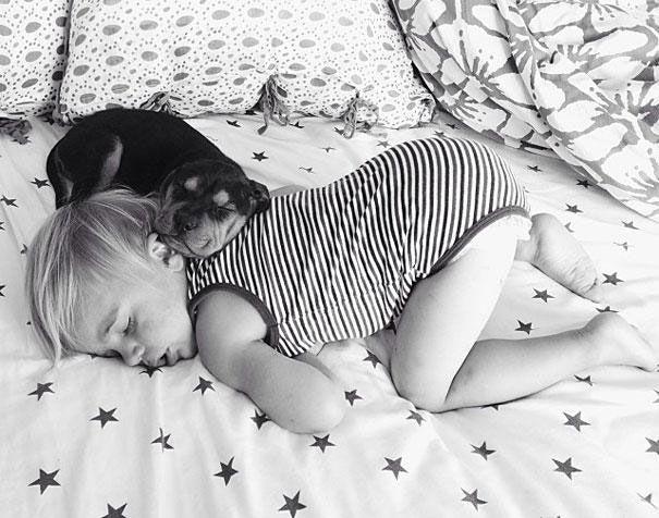 La touchante amitié entre un chiot et un bébé immortalisée à travers des clichés pleins de tendresse
