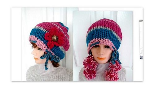 KNITTING PATTERN, knitting for beginners, flat knit, with or without pom pom ties, on Ravelry http://www.ravelry.com/patterns/library/877-pompom-ties-hat
