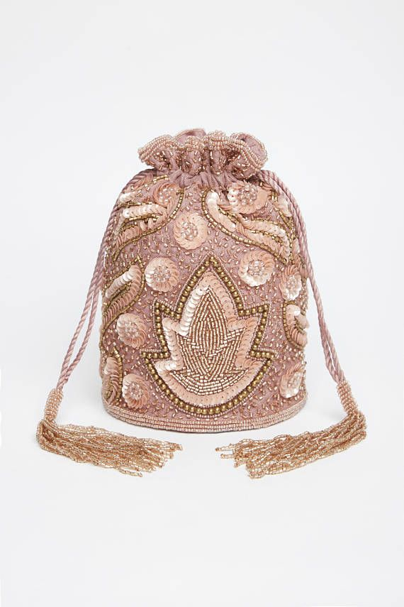 322ab15baf6 Vintage Inspired Vegas Bucket Pouch clutch purse bag Rose Gold Wedding  Bridal Bridesmaids 20s Great Gatsby Flapper Art Deco