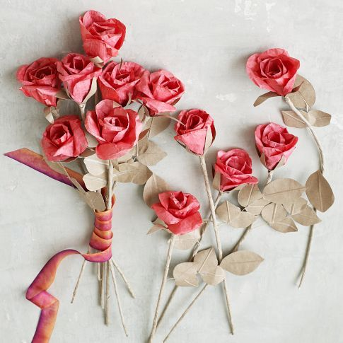 red rose paper flowers